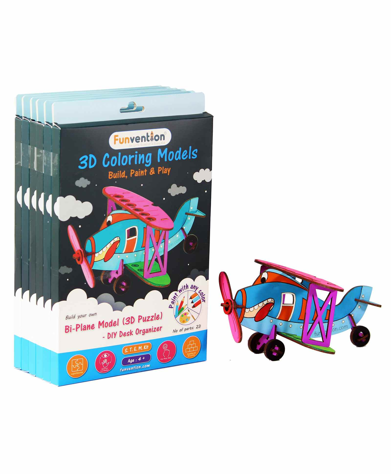 Funvention Mdf Wood 3d Coloring Model Bi Plane Diy Puzzle Toy Multicolor Pack Of 6 23 Pieces Each Online India Buy Puzzle Games Toys For 4 8 Years At Firstcry Com 8144659