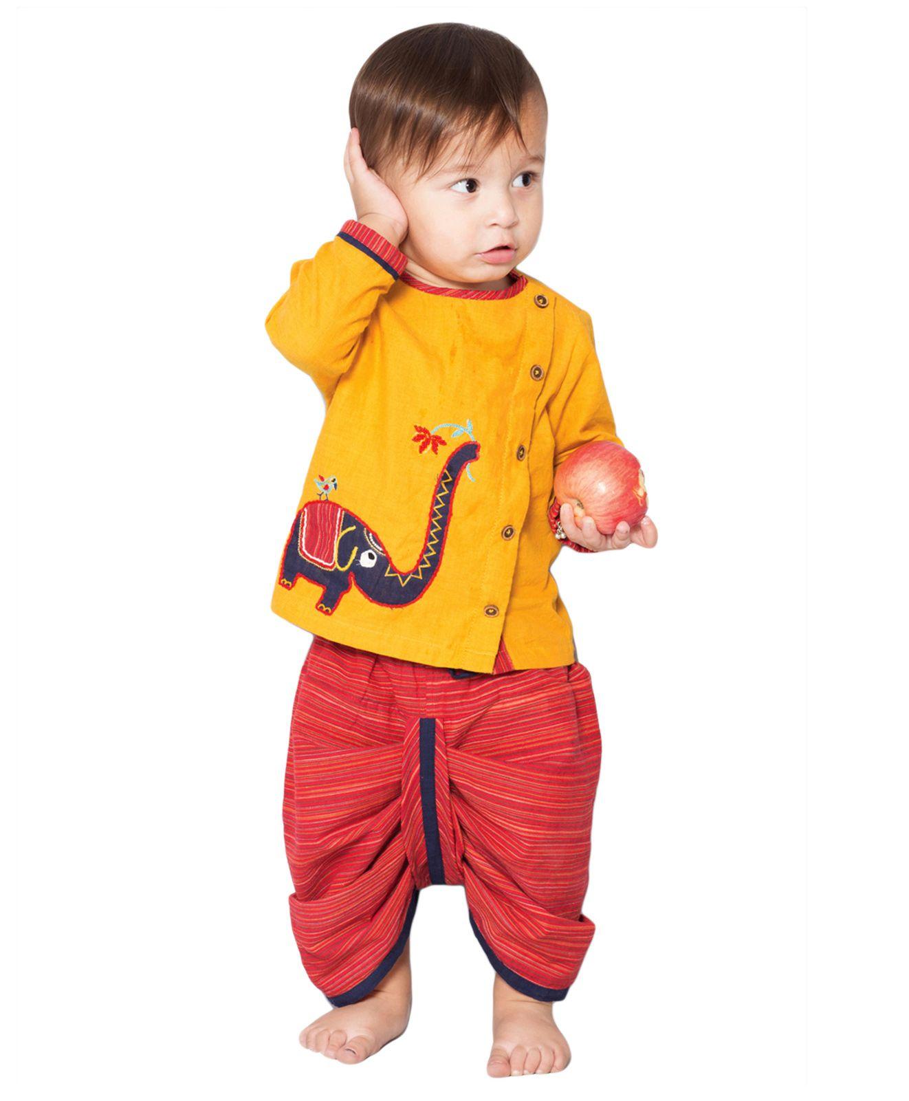 f6b3bf51f Buy Tiber Taber Elephantasia Dhoti Kurta Set Yellow & Red for Boys ...