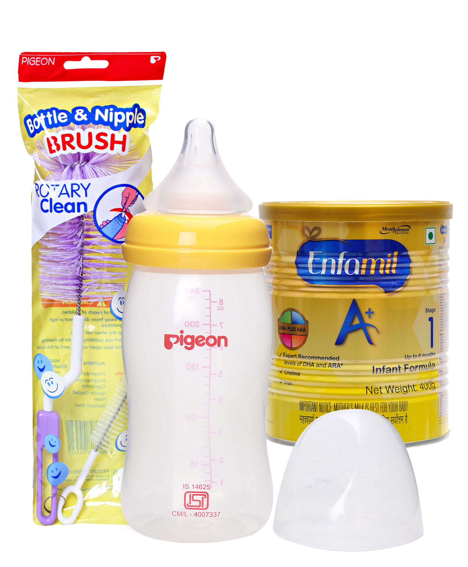Combo pack of Enfamil A With DHA Stage 1 Infant Formula , Pigeon Plastic Feeding Bottle With Medium Flow Teat & Pigeon Brush For Bottle And Nipple (Color May Vary)