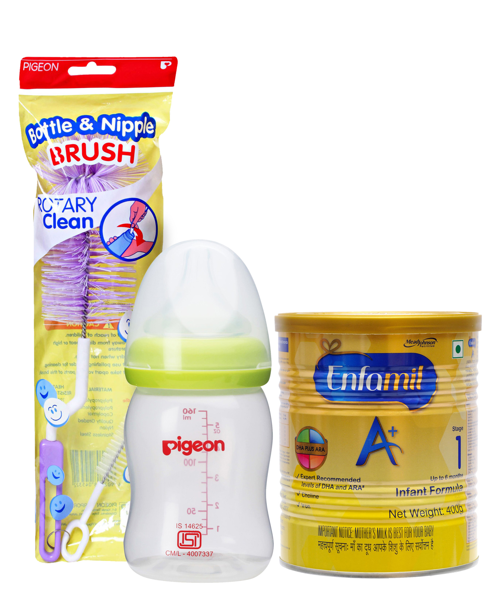 Combo Pack of Enfamil A With DHA Stage 1 Infant Formula , Pigeon Plastic Feeding Bottle With Slow Flow Teat Green & Pigeon Nylon Brush For Bottle And Nipple (Color May Vary)